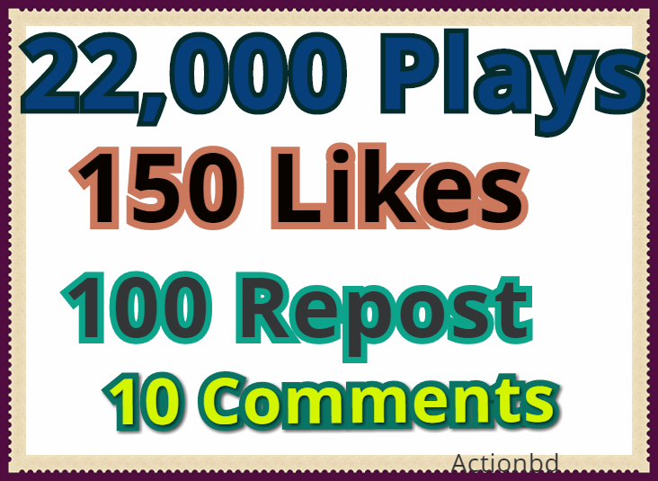 Add 22,000 Safe SoundCloud Plays, 150 Likes - 100 Reposts and 10 Manual Comments