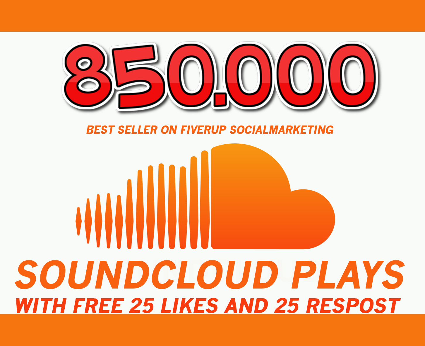 850,000 SOUNDCLOUD Plays with free 25 Likes and 25 reposts