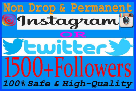 Give you 1500+ Real Instagram Or Twitter Followers