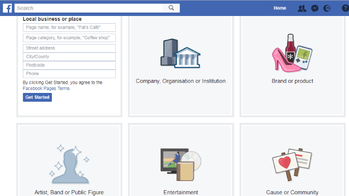 create a facebook page and fill out the about section