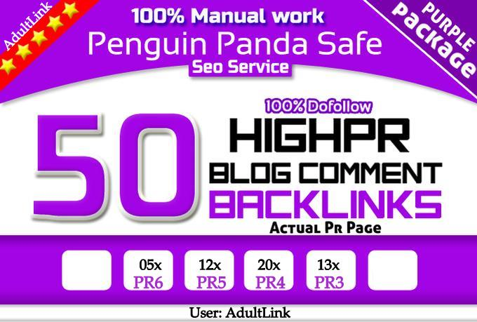 high PR Quality Blog Commenting 50 PR4 Dofollow on unique domains in 48 hours