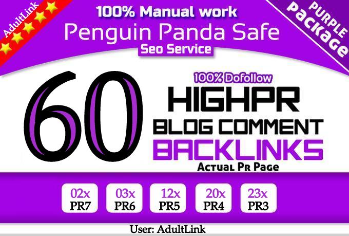 create Manual High PR Blog Comment 60 PR3 Dofollow on unique domains in 48 Hours