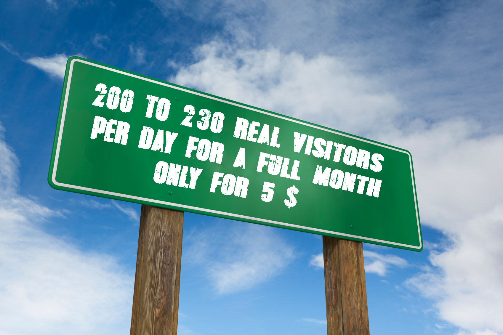 send 200 to 230 real visitors for a full month