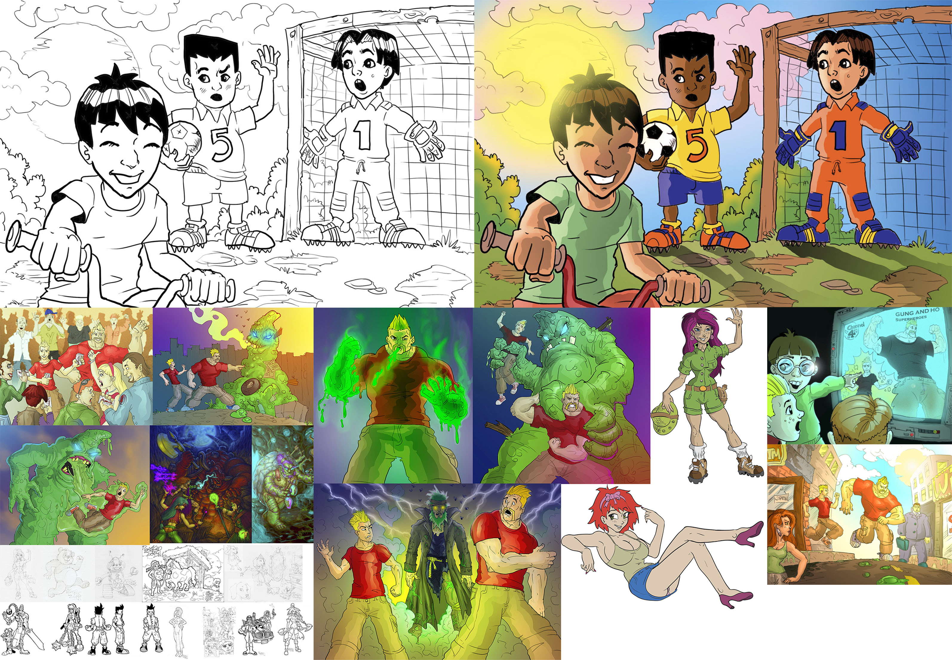 draw a children illustration fully colored