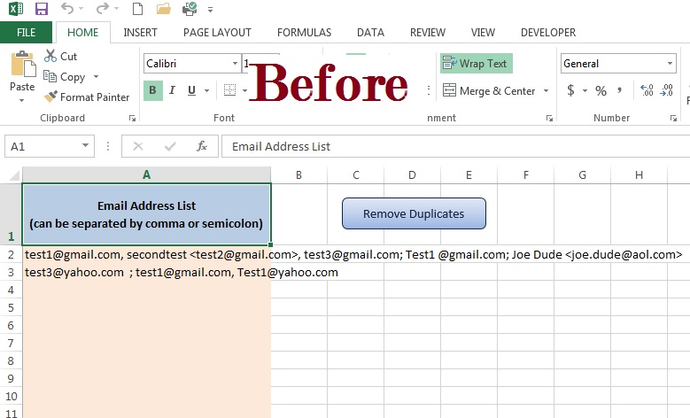 create a one-time-use email list in Excel
