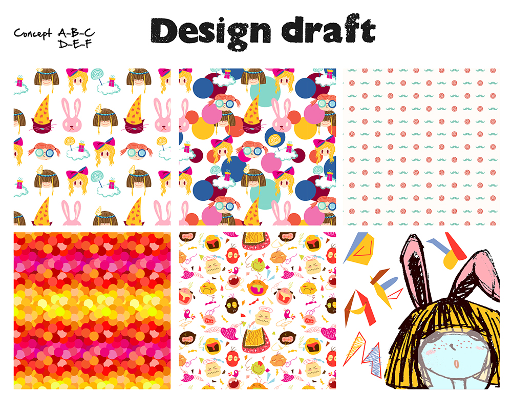 design a unique creative pattern with 3 more concepts as you choose