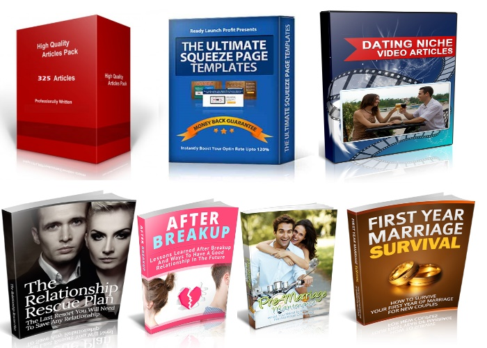 give you 325 articles on dating + 4 premium ebooks + Premium squeeze page pack + 10 Dating videos