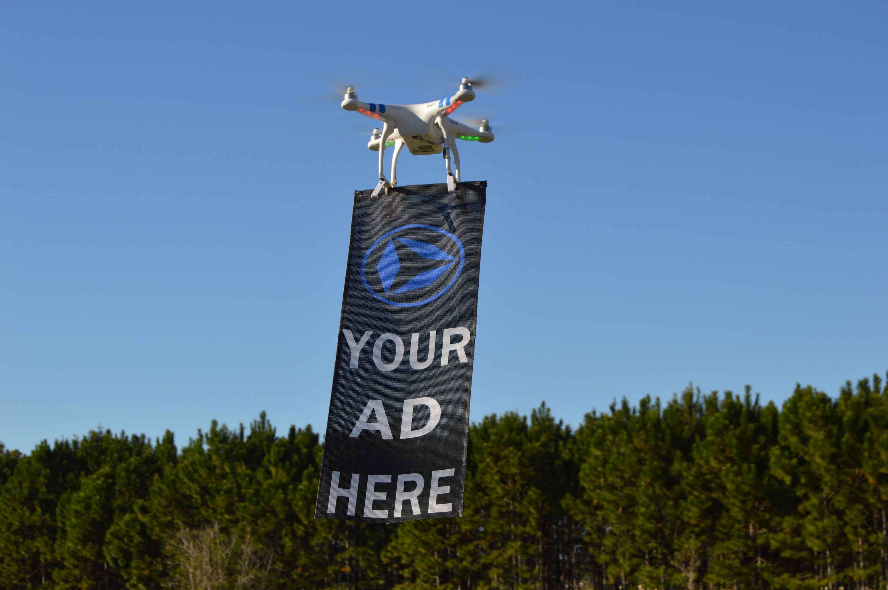 put a banner with a message on a drone