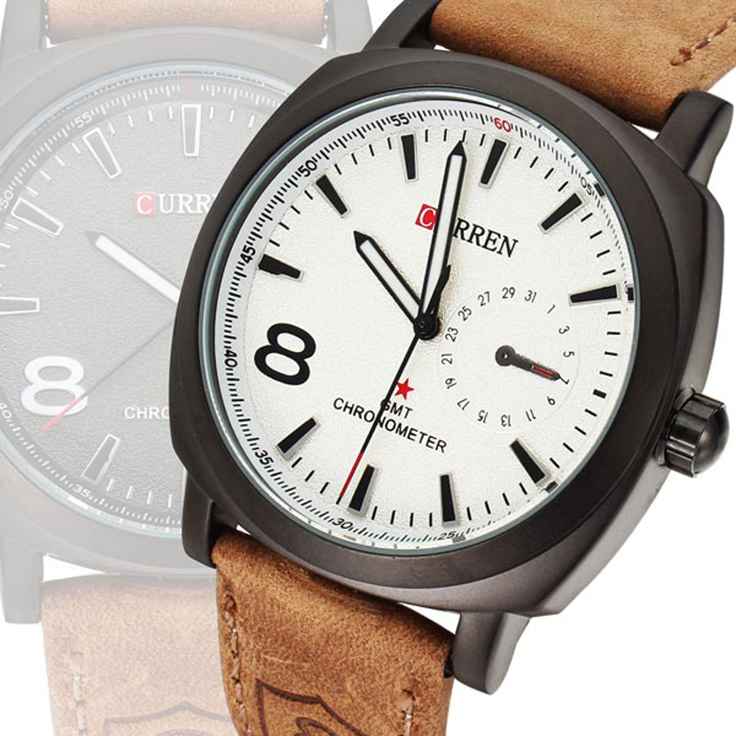 send you this trendy CURREN Chic Round Case Quartz Analog Wristwatch with Genuine Leather Band for Men