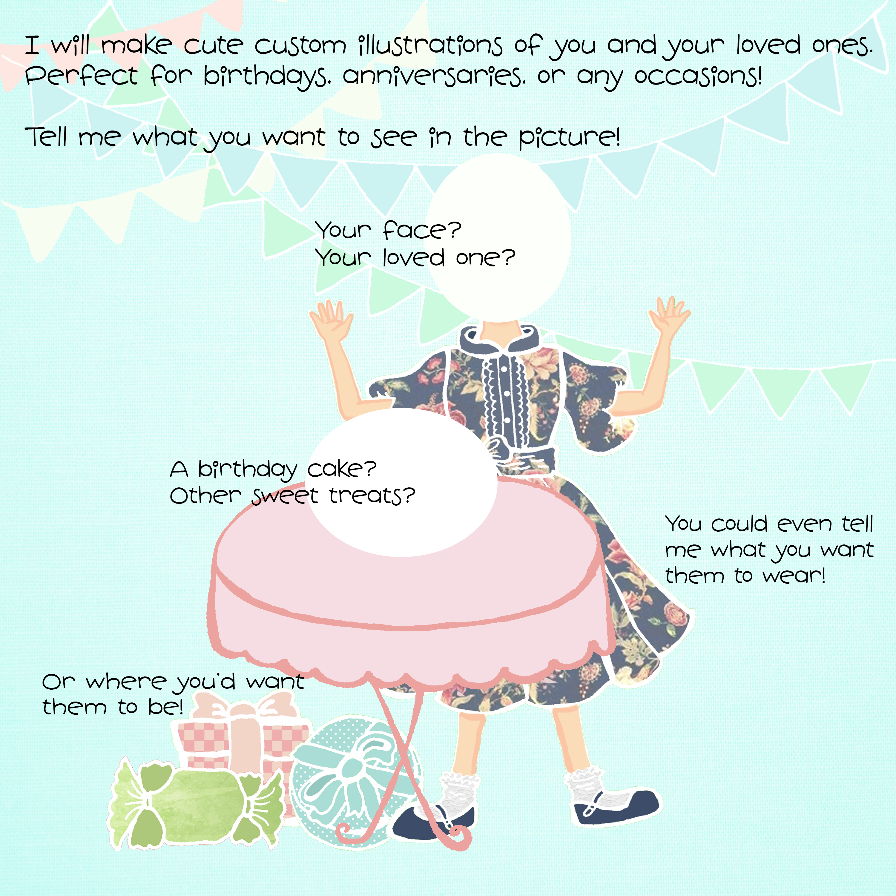 do custom illustration of you in a children's book style
