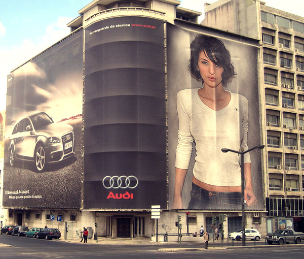 put your photo on Billboard Banner realistic