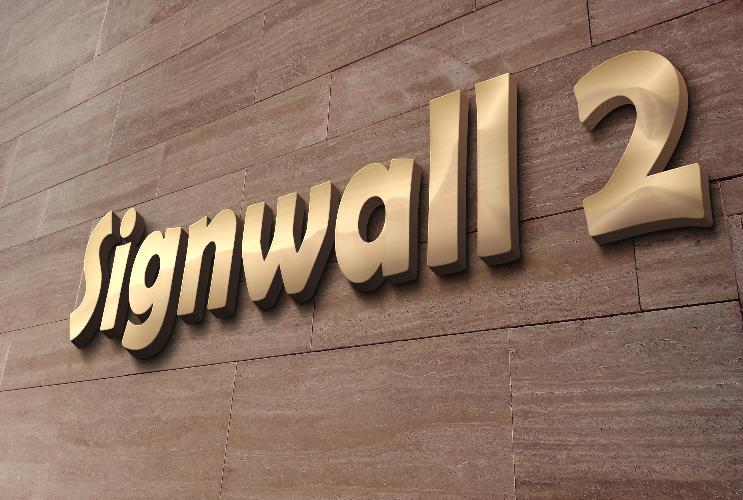 create Awesome Realistic 3D Text Logo signwall2 effect
