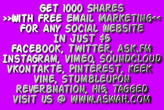 give you 1000 shares n retweets for any social