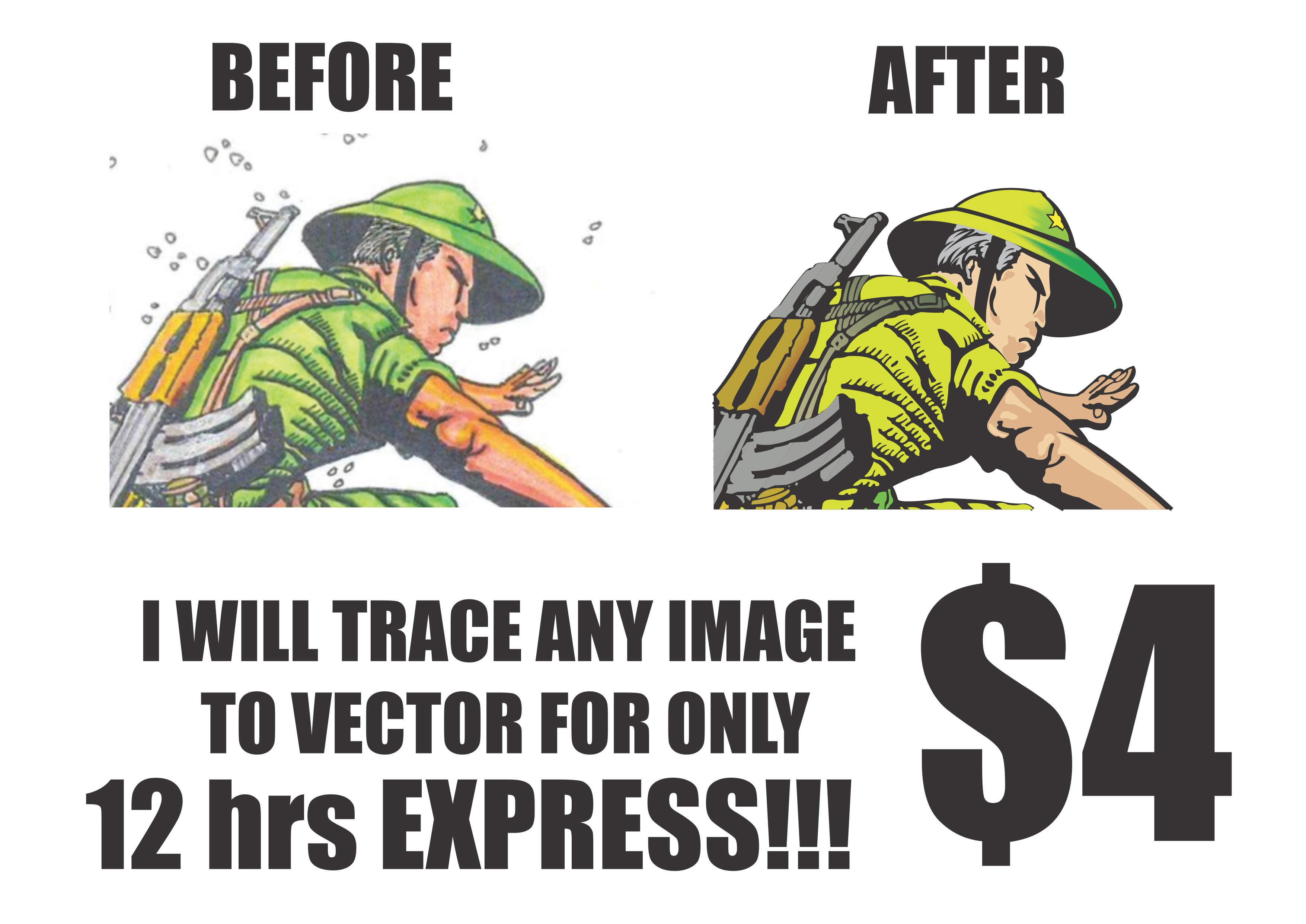 trace any images into VECTOR for high resolution and give you unlimited revisions 24hrs express