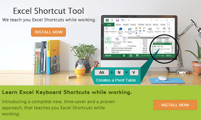 give you Excel Shortcut Tool