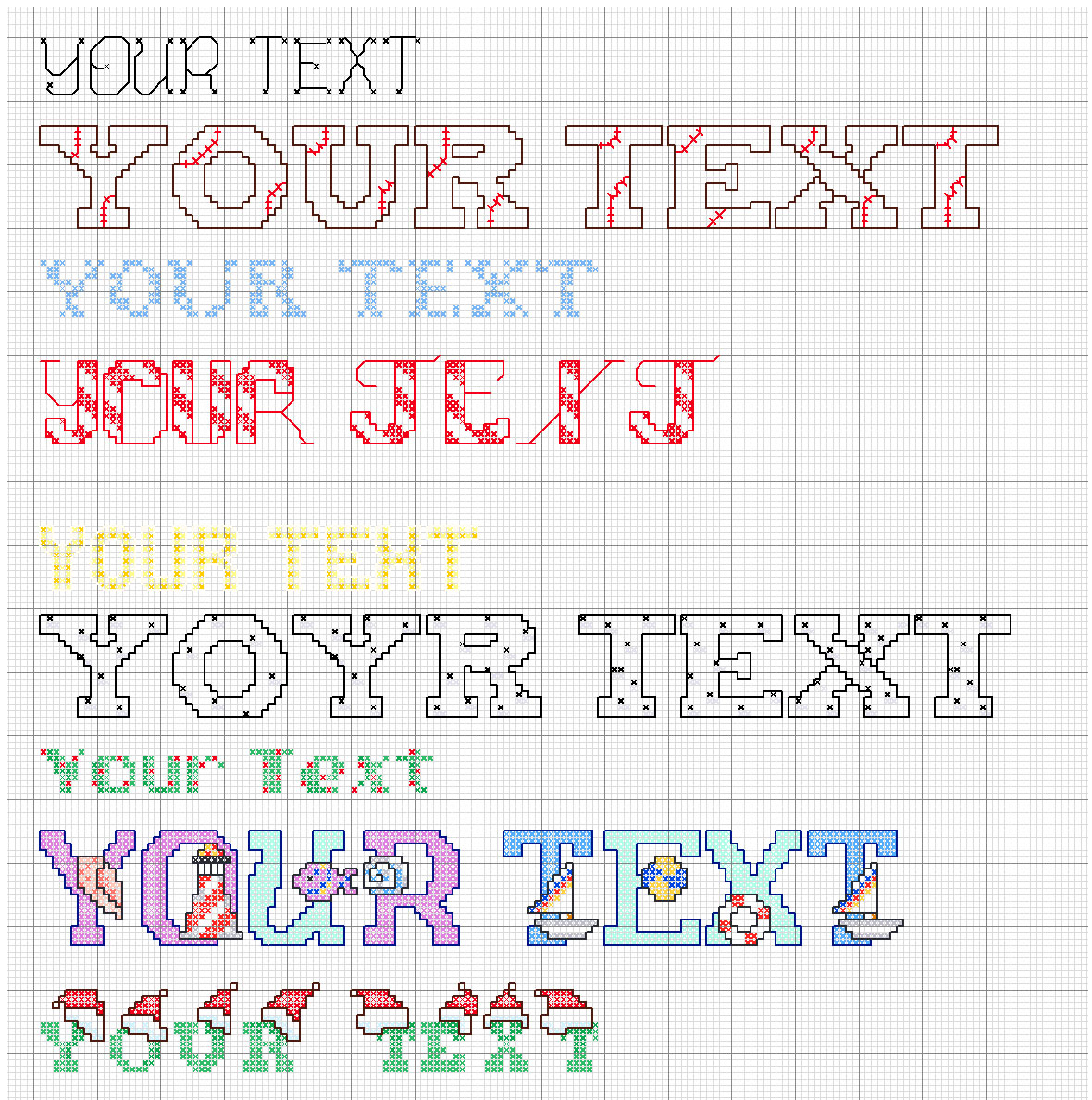create cross sitch pattern for your message