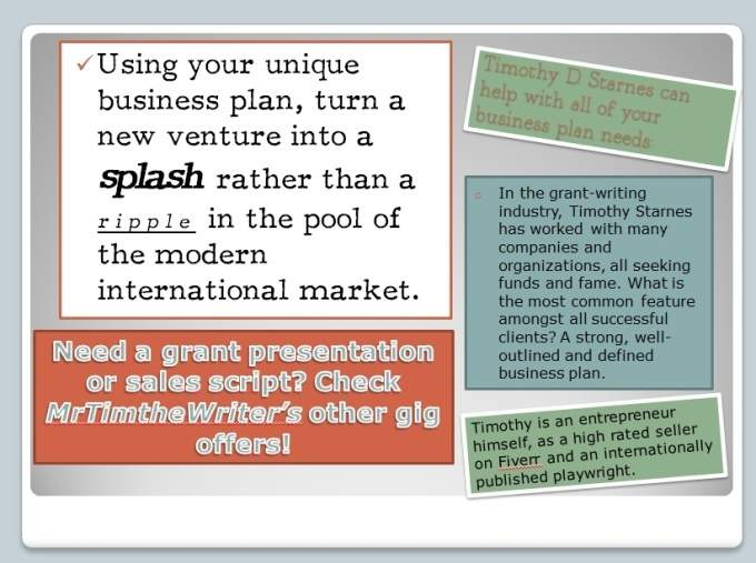 write, edit or rewrite your business plan