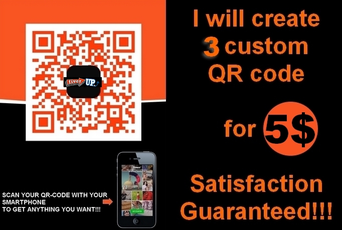 create 3 custom QR codes with your logo in 24hs