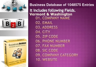 email lists of Vermont & Washington Business Directory