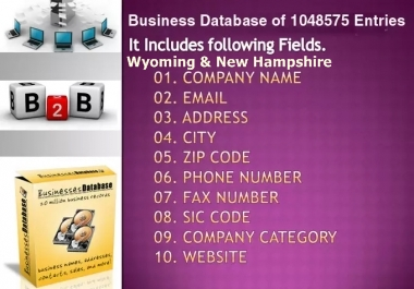 email lists of Wyoming & New Hampshire Business Directory