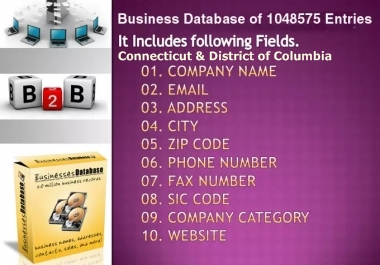 email lists of Connecticut & District of Columbia Business Directory