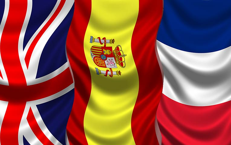translate any text spanish english and french