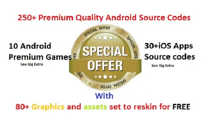 give 250+ Premium android source codes with 80+ graphics sets to reskin and 10 Unity Codes