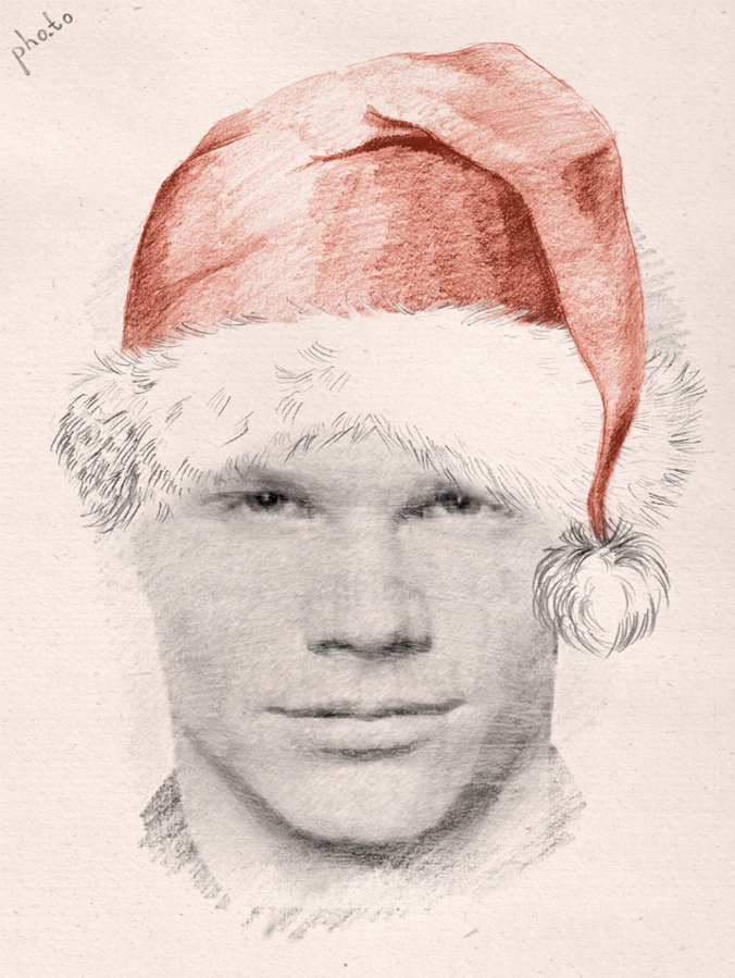 convert your pic into  pencil sketch with a Santa hat