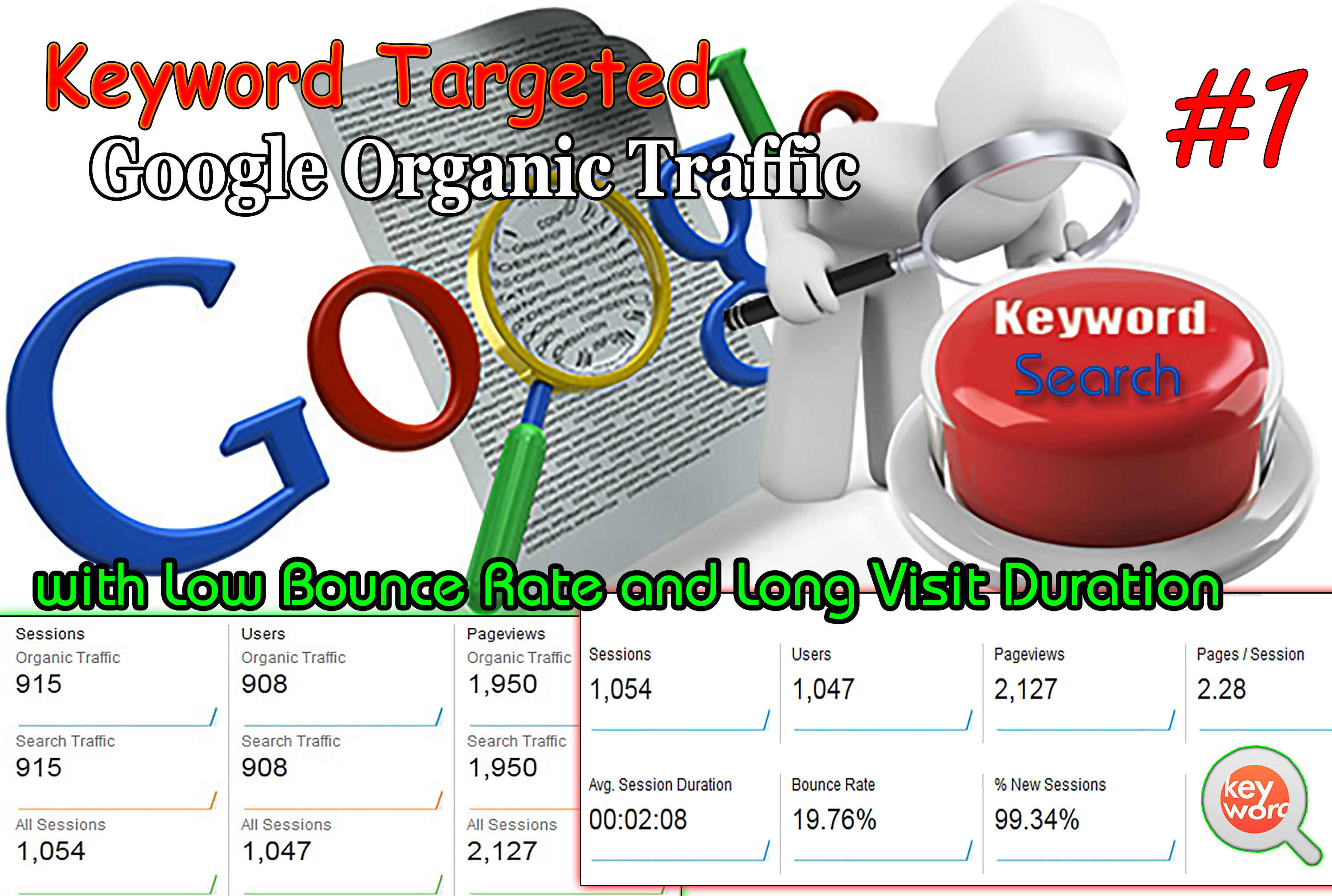 drive keyword targeted organic traffic with low bounce rate and long visit duration