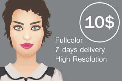 do vector portrait in color
