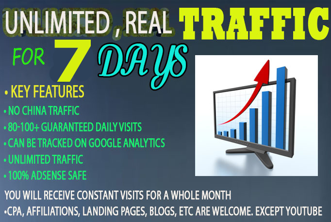 drive real UNLIMITED Website TRAFFIC to your website for 7 days