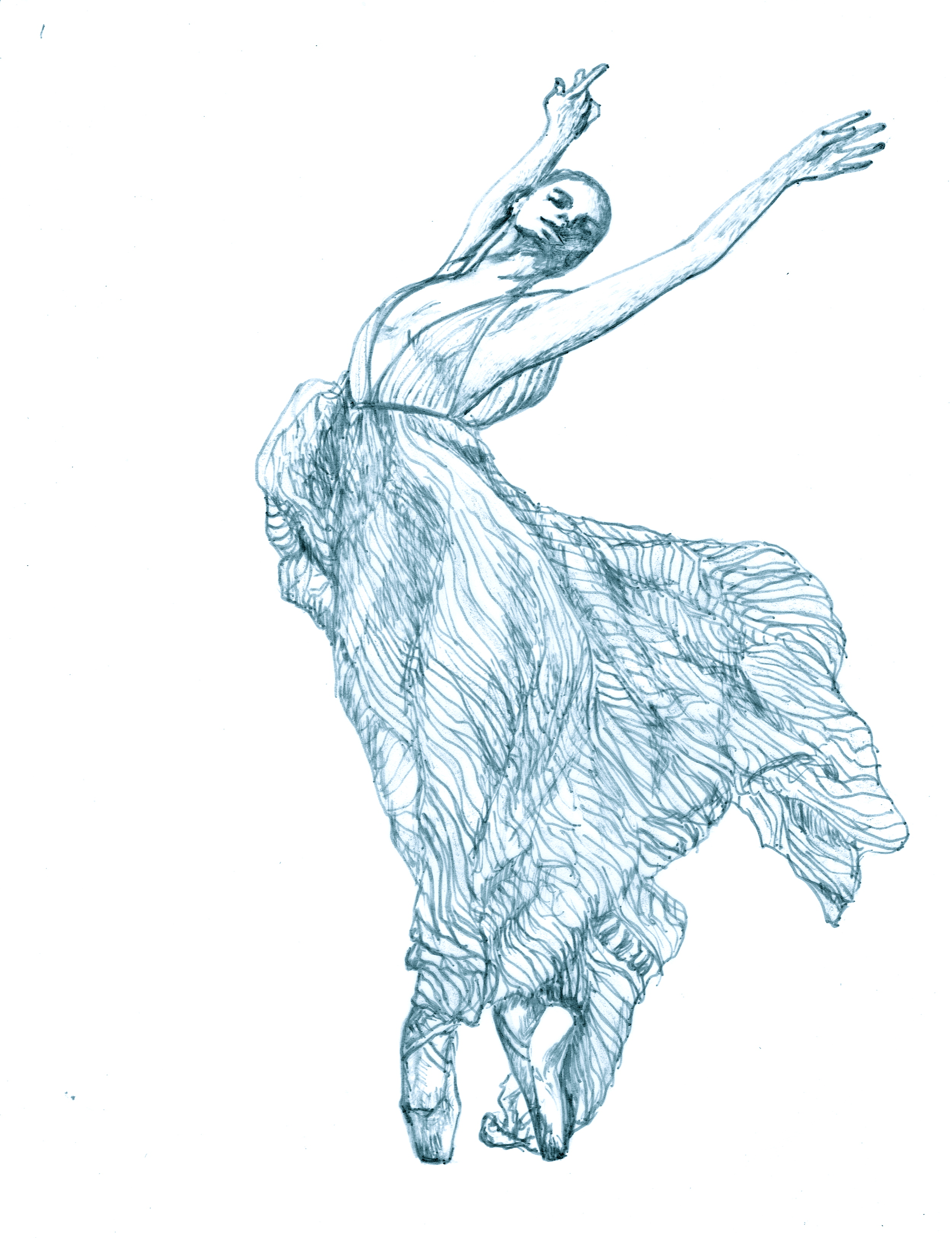 do a line drawing of a dancer