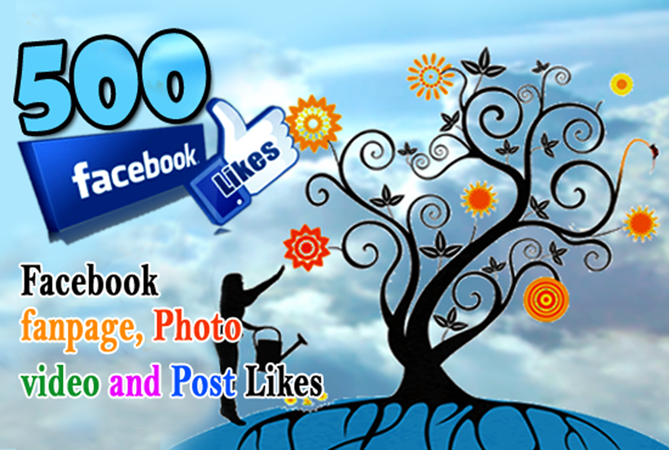 increase 500 Likes to your FACEBOOK Fan-page, Photos, Videos or Posts