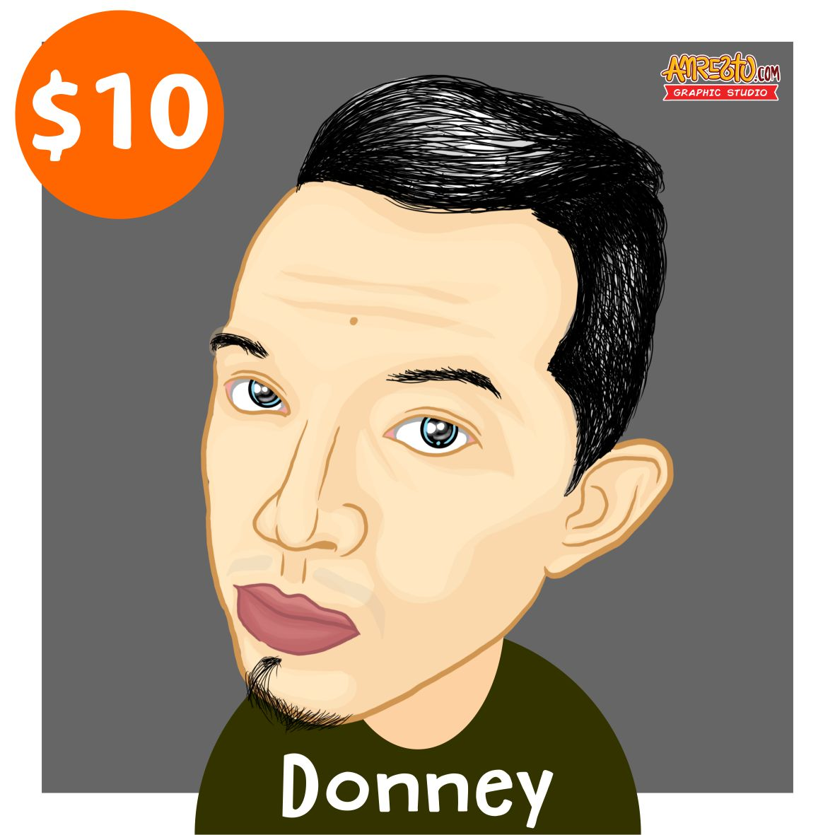 draw you into a funny - semi realistic Cartoon from (Head to Shoulder)
