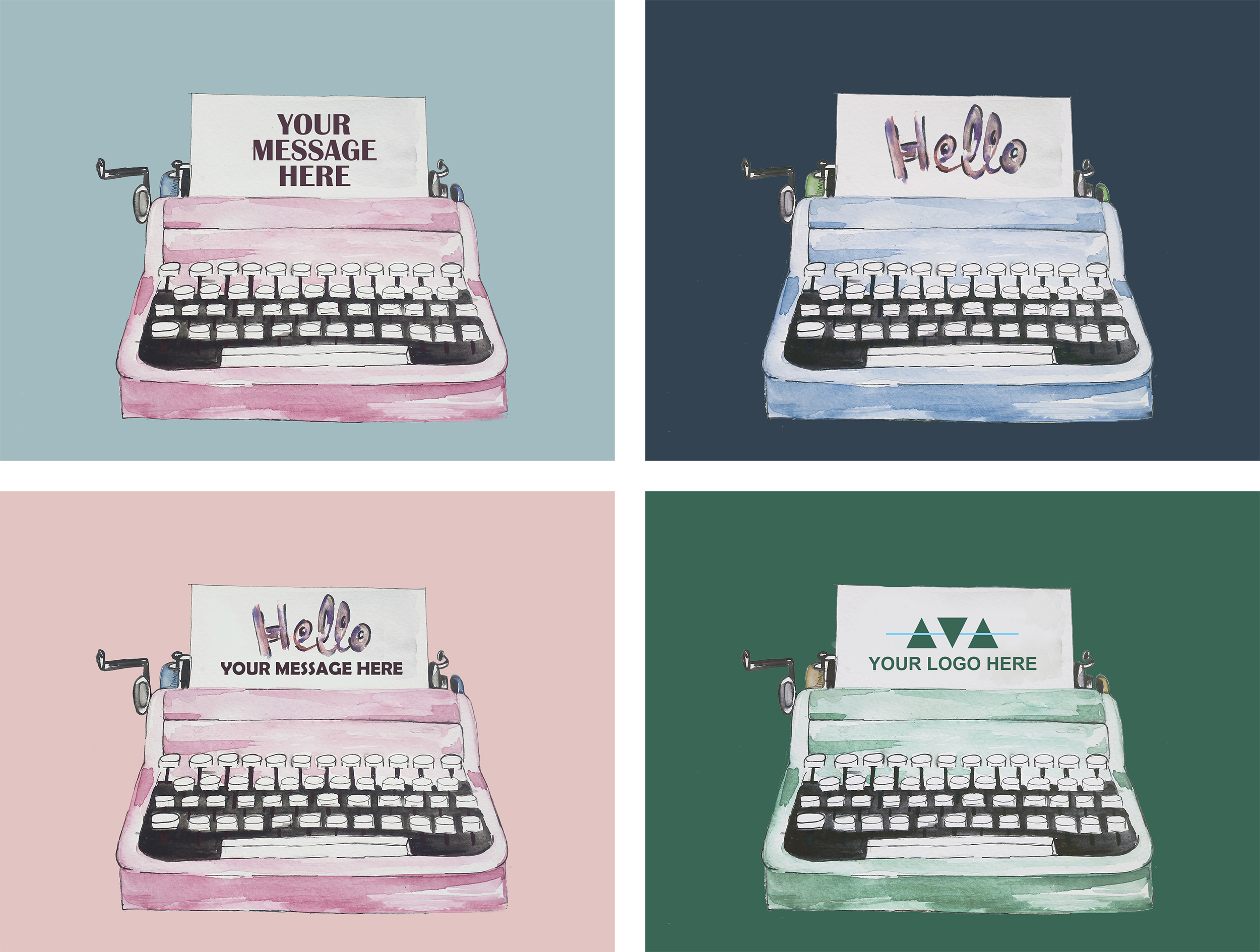 write your message on a watercolor illustration