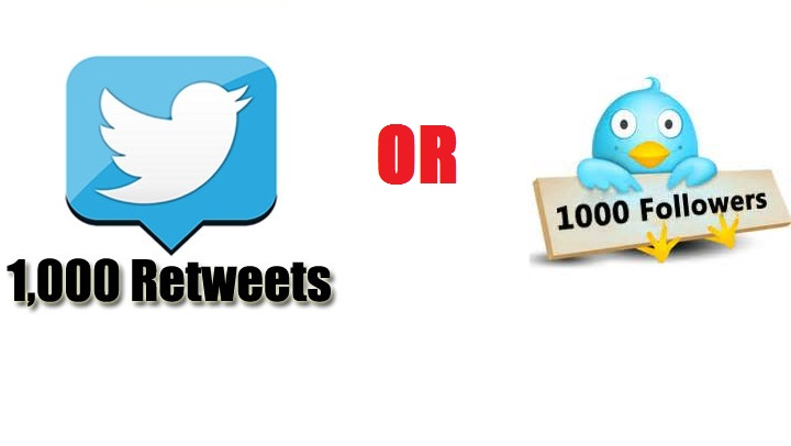 provide 1000 twitter retweets or followers