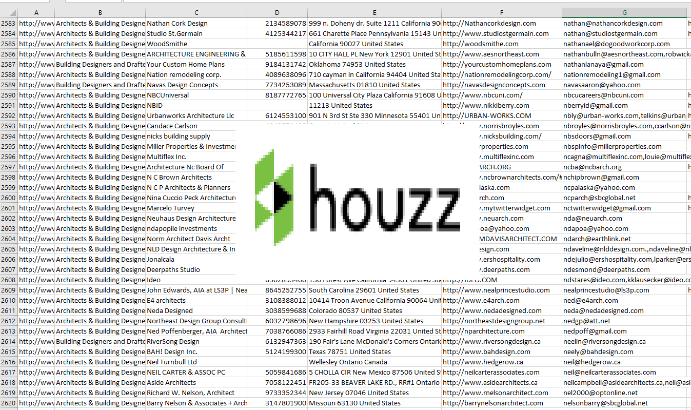 sell contact list from houzz