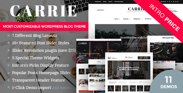 Carrie Personal Magazine WordPress Responsive Clean Blog Theme Free Download Nulled