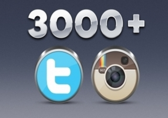 give you real 3000+ instagram & Twitter Followers