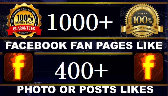 promote your 1000 facebook post Like & 400 Fan Page likes