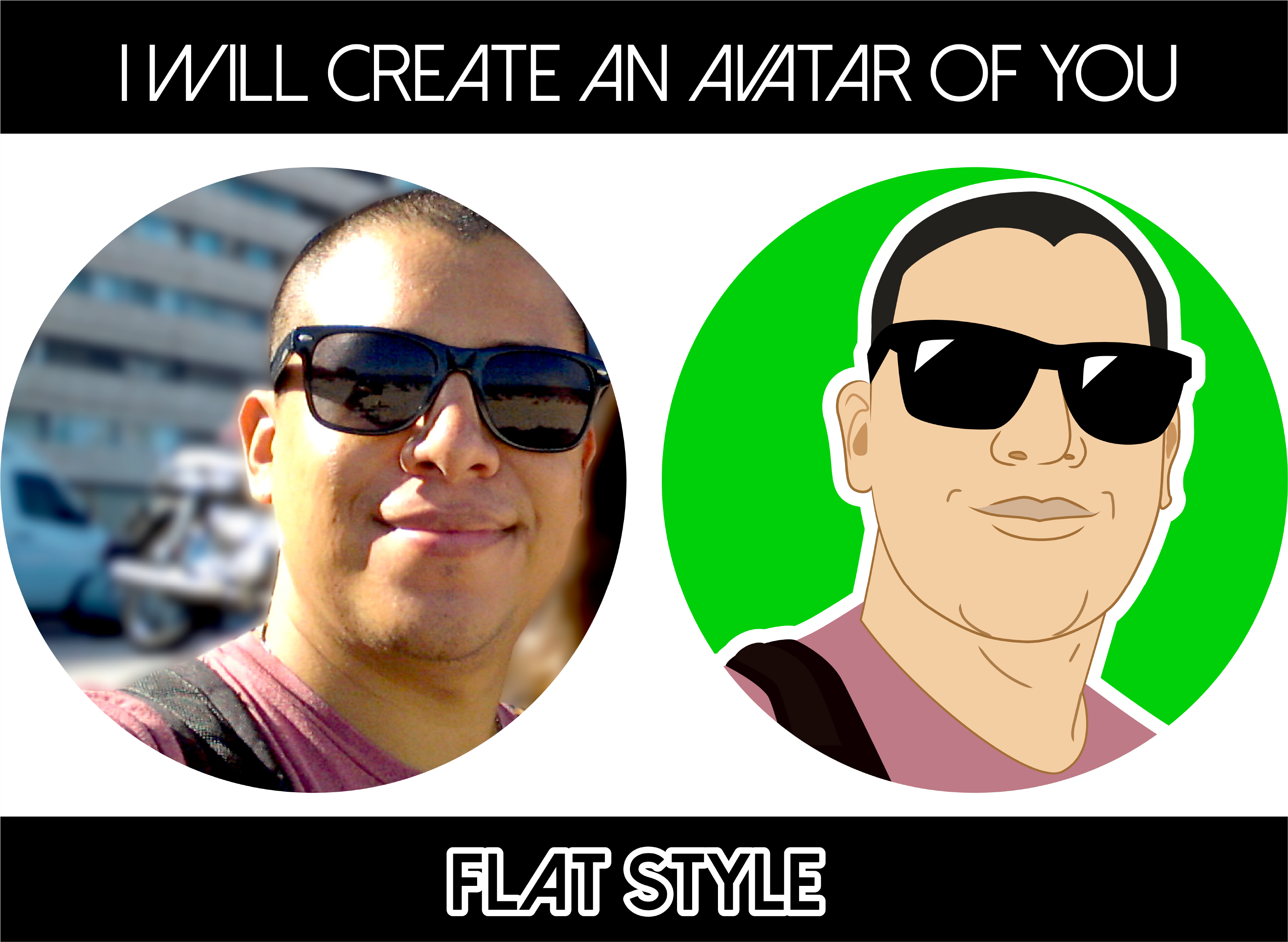 create a flat avatar of you front or sided