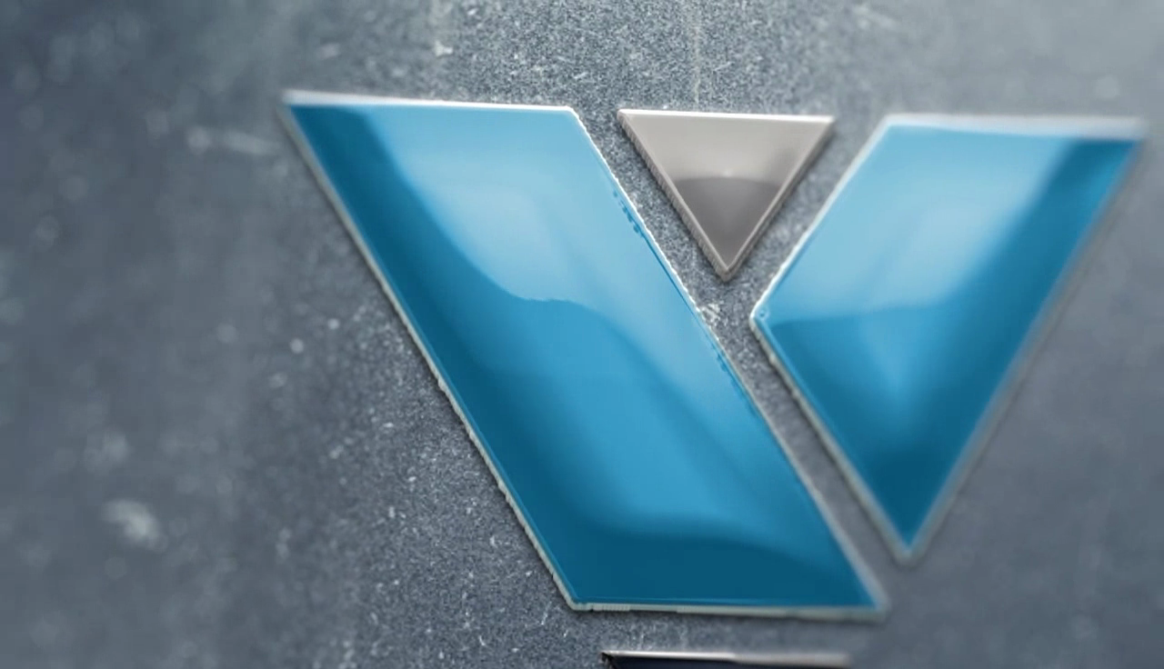 make a 3D glossy logo animation with reflection