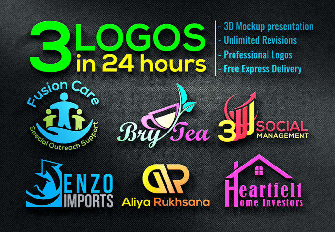 Do 2 AMAZING Logo Designs In 5 Hrs With Vector Files Mockup