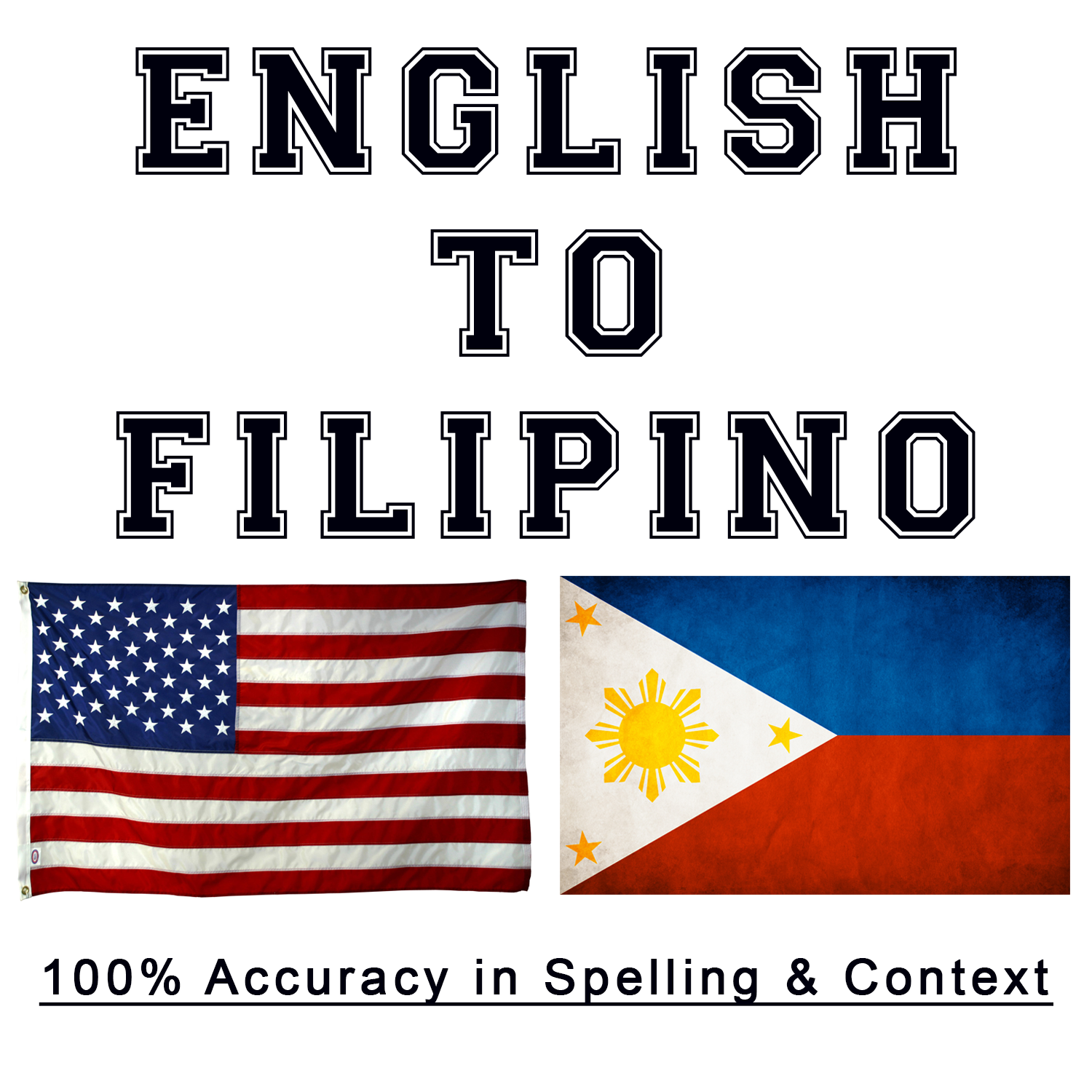 translate up to 600 English words to Filipino