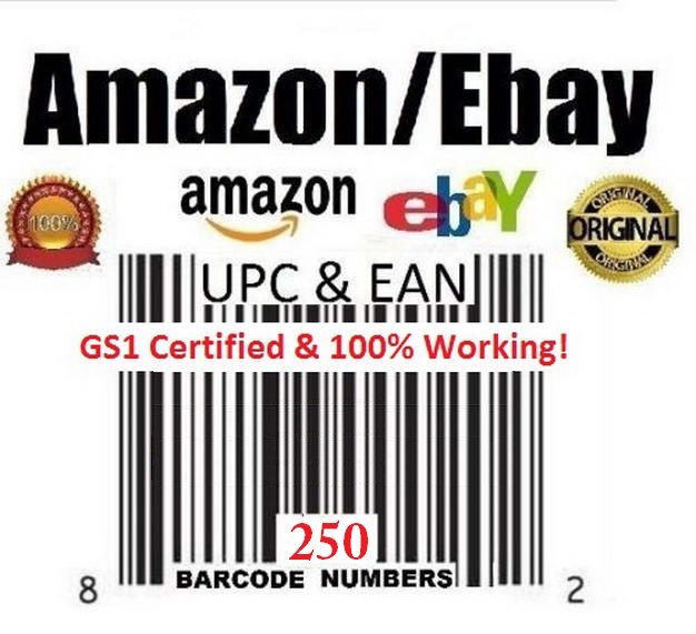 you 250 UPC/Barcode and EAN codes for Amazon and Ebay