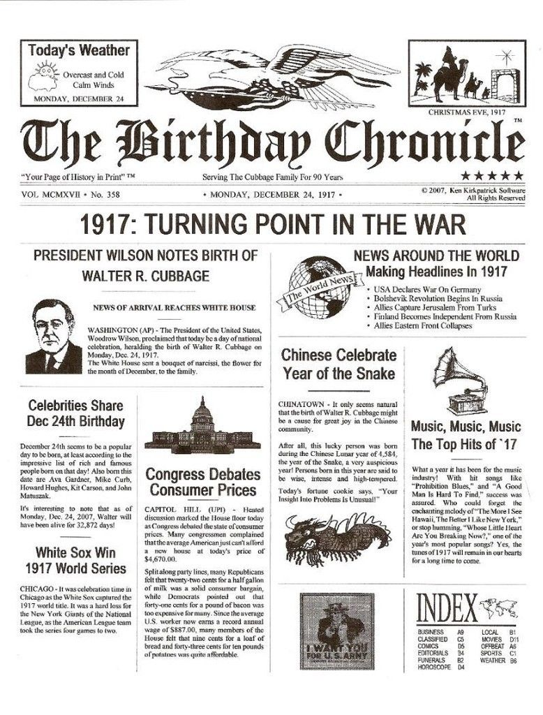 BIRTHDAY CHRONICLE What Happened on the Day You Were Born