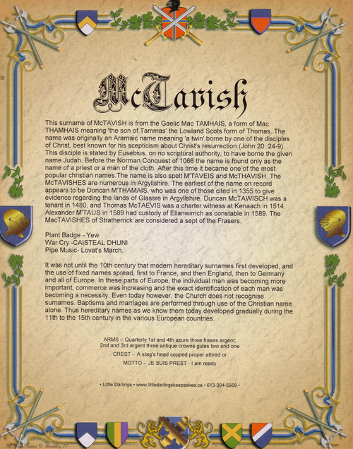 Surname History Print ~ What's The Meaning of Your Last Name