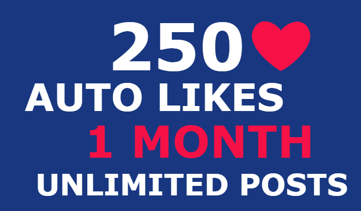 250 instagram auto likes for 1 month (unlimited posts)