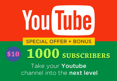 add 1000 Subscribers to your Youtube channel (with bonus)