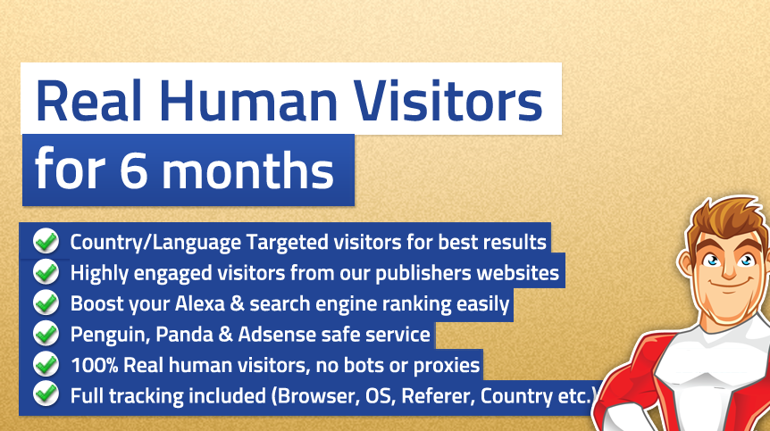 give you Unlimited TARGETED real human Website TRAFFIC for 6 months